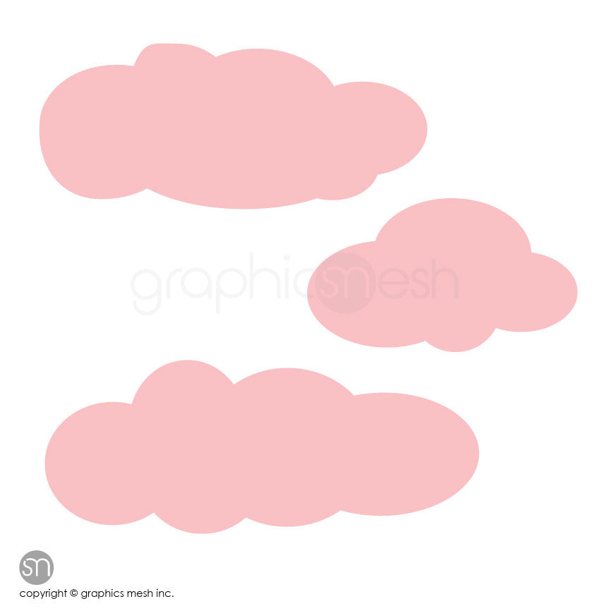CARTOON CLOUDS MEMO - DRY ERASE WALL DECALS pink
