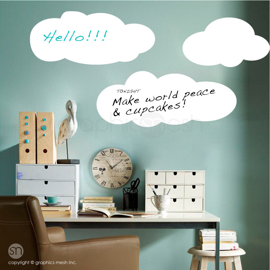 CARTOON CLOUDS MEMO - DRY ERASE WALL DECALS white on green walll