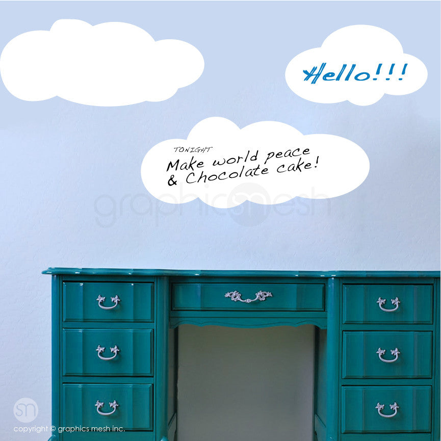 CARTOON CLOUDS MEMO - DRY ERASE WALL DECALS white on blue wall
