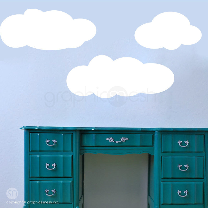 CARTOON CLOUDS MEMO - DRY ERASE WALL DECALS white