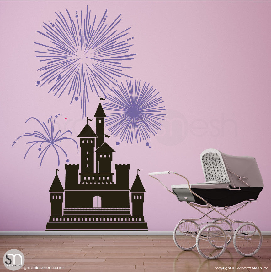 CASTLE WITH FIREWORKS - Wall decal large black and lavender