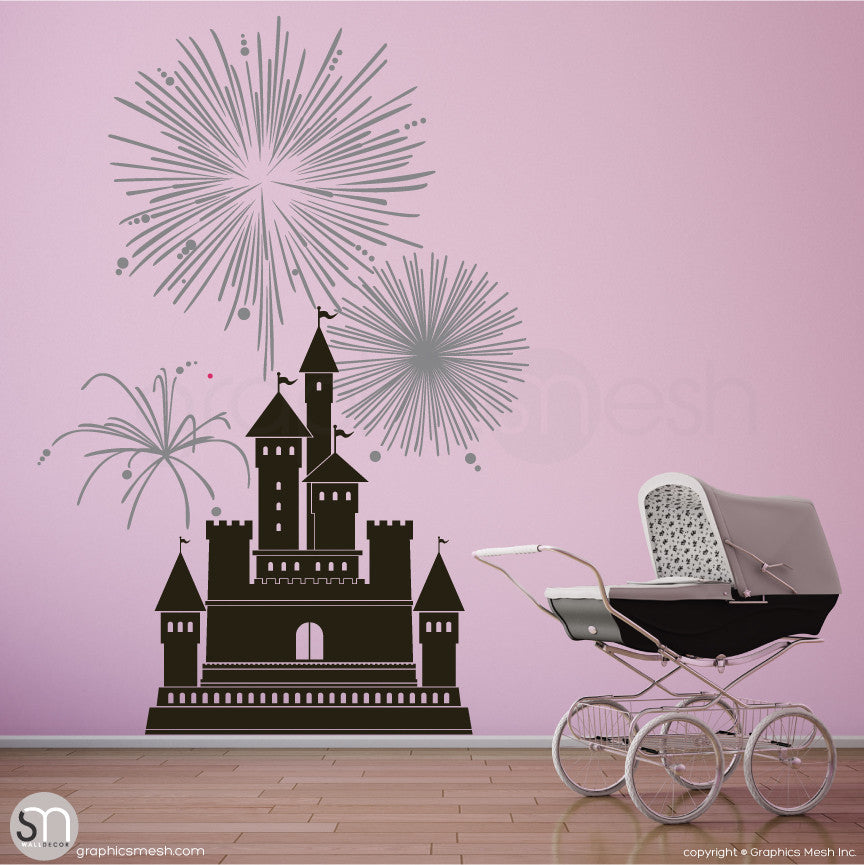CASTLE WITH FIREWORKS - Wall decal large black and metallic silver