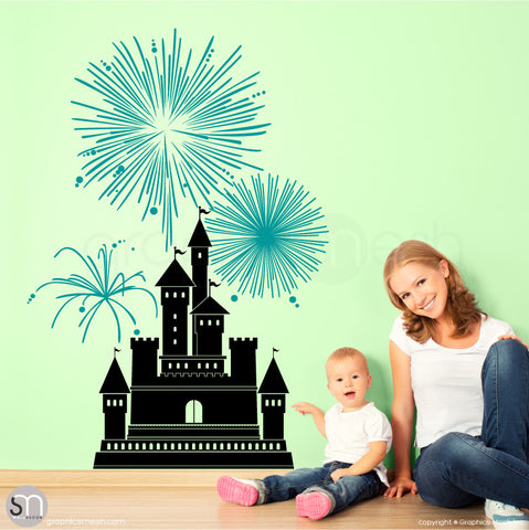 CASTLE WITH FIREWORKS - Wall decal small black and teal