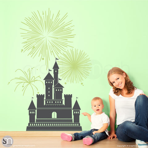 CASTLE WITH FIREWORKS - Wall decal small grey and key lime pie