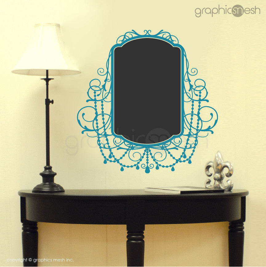 CHALKBOARD WITH ROCOCO FRAME - Erasable Wall Decalsblue