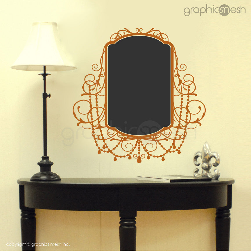 CHALKBOARD WITH ROCOCO FRAME - Erasable Wall Decals orange
