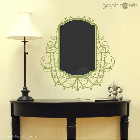 CHALKBOARD WITH ROCOCO FRAME - Erasable Wall Decals green
