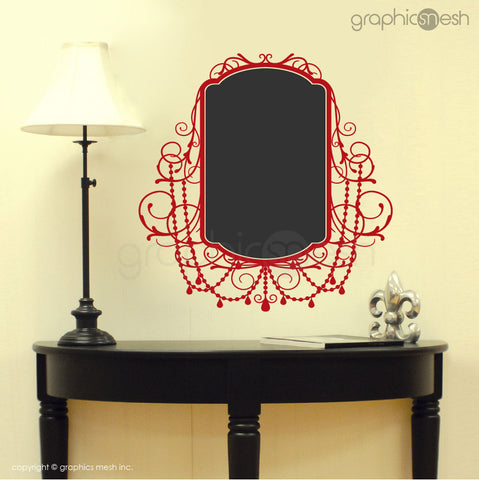 CHALKBOARD WITH ROCOCO FRAME - Erasable Wall Decals red