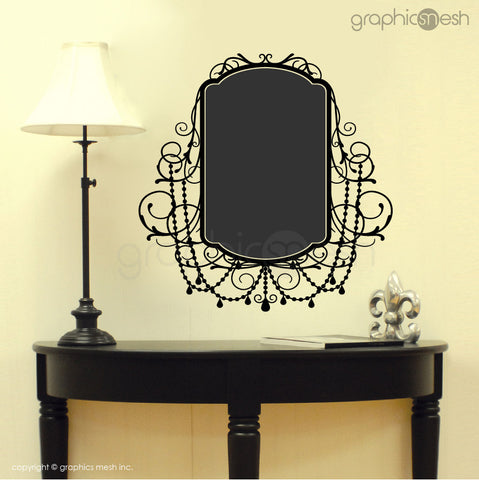 CHALKBOARD WITH ROCOCO FRAME - Erasable Wall Decals