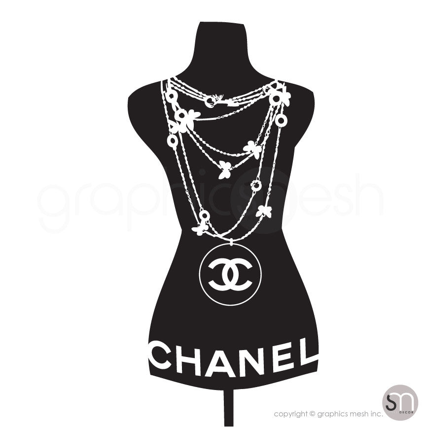 Designer Inspired Necklace Mannequin - Dress form wall decals ...