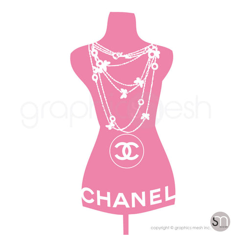 Chanel Necklace Mannequin - Dress form wall decals light pink