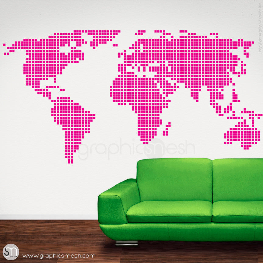 CHECKERED WORLD MAP - Wall decals hot pink