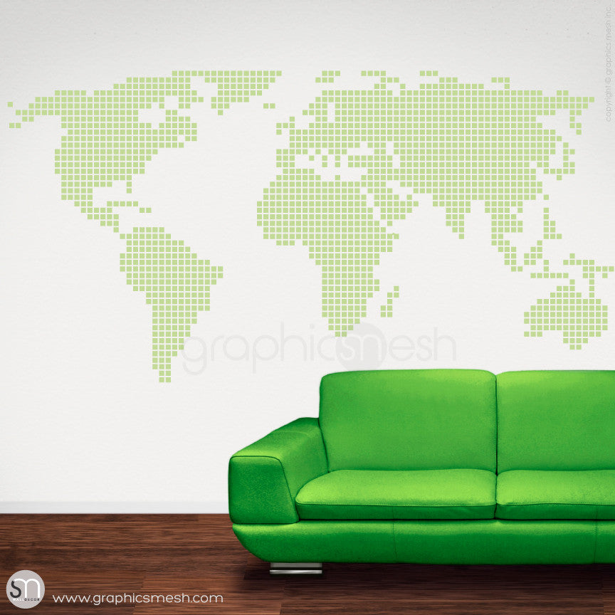 CHECKERED WORLD MAP - Wall decals key lime pie