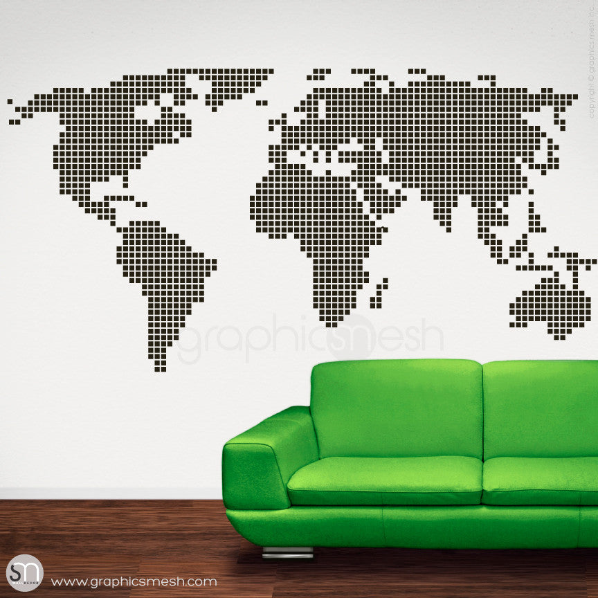 CHECKERED WORLD MAP - Wall decals black