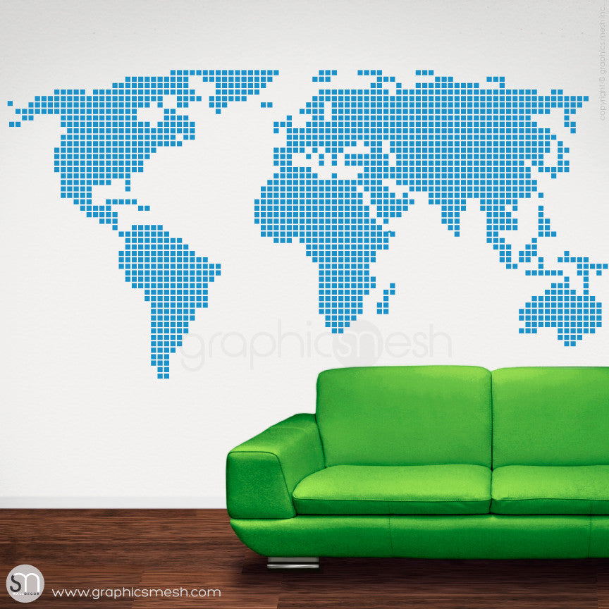 CHECKERED WORLD MAP - Wall decals blue