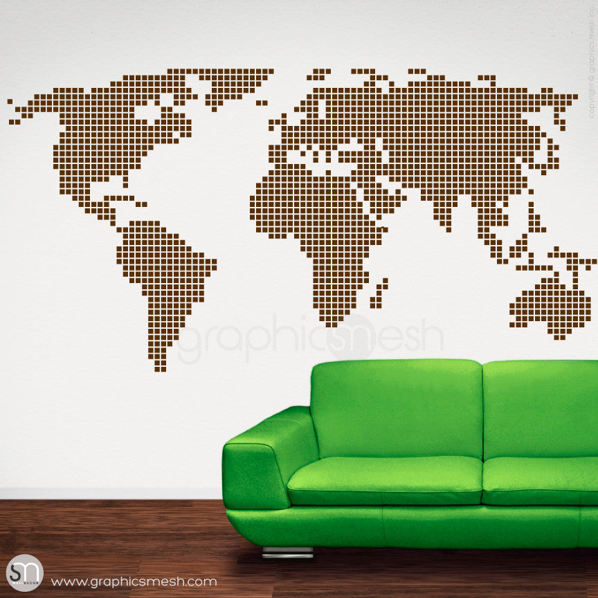 CHECKERED WORLD MAP - Wall decals brown