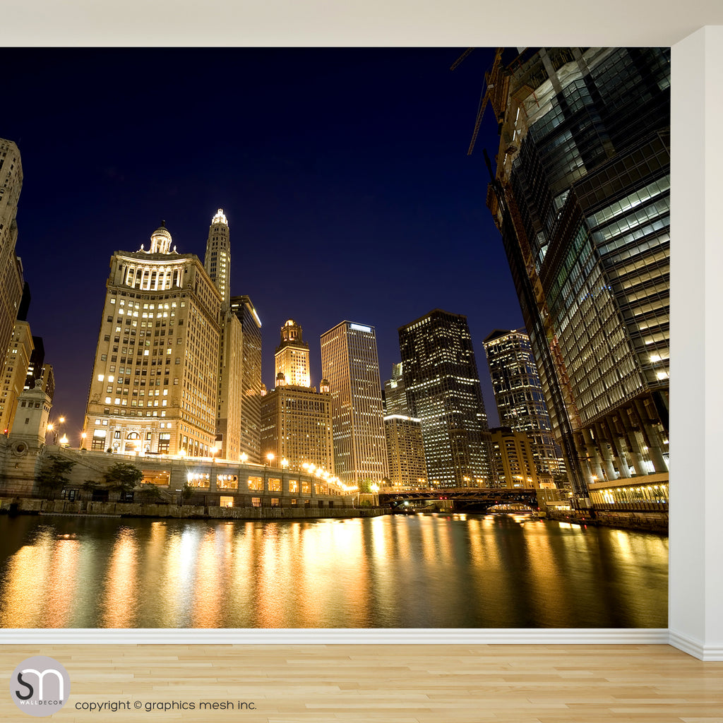 CHICAGO RIVER AT NIGHT - Wall Mural accent wall