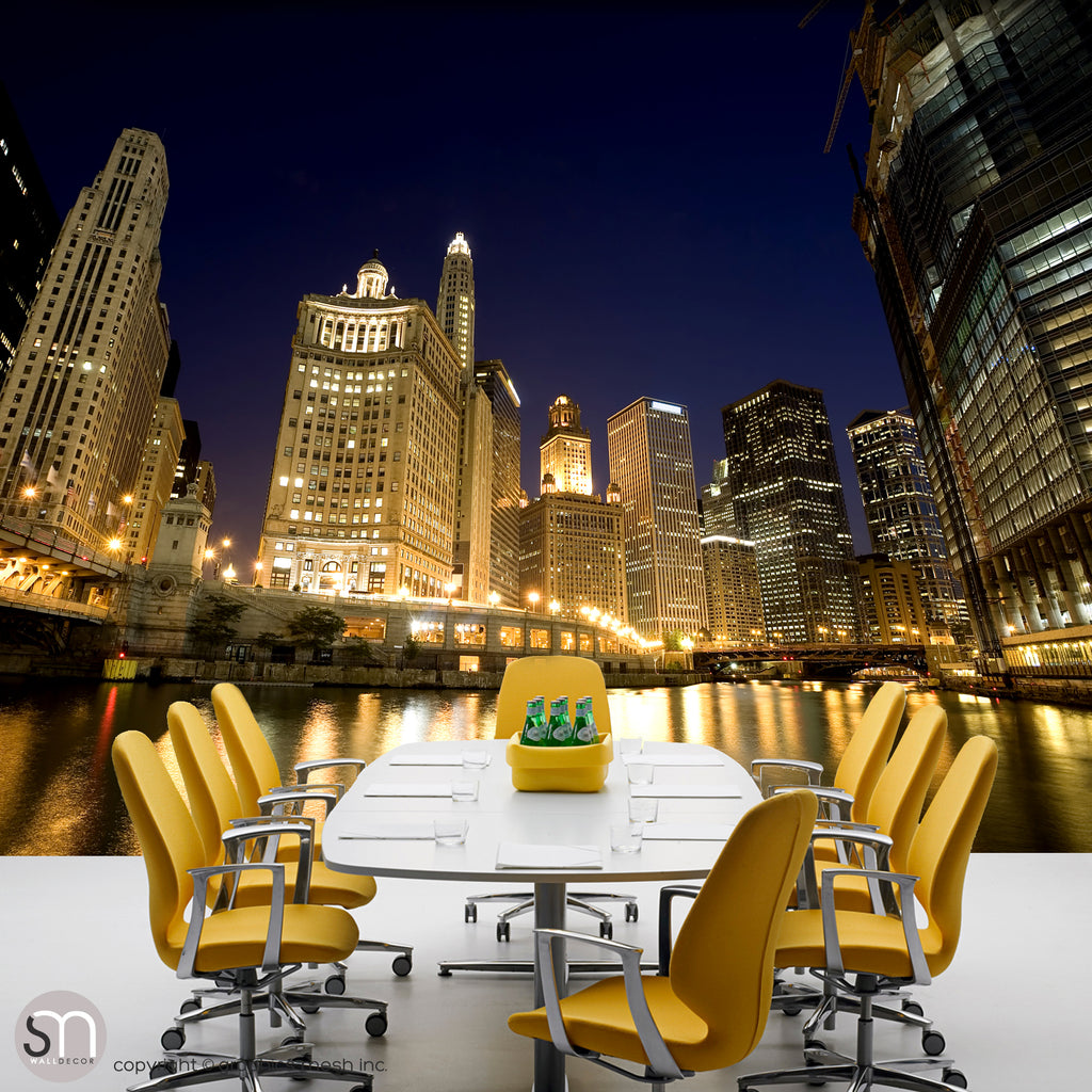 CHICAGO RIVER AT NIGHT - Wall Mural for office