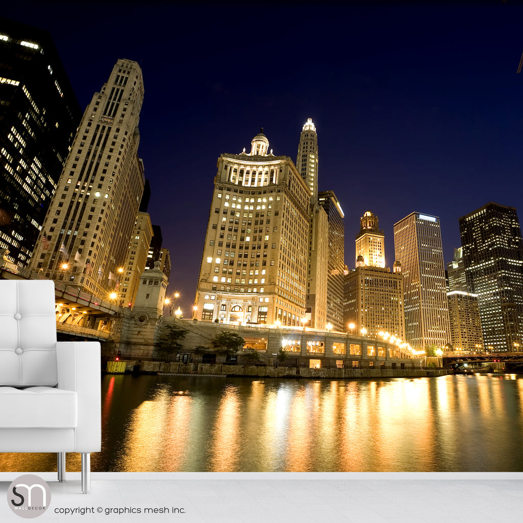 CHICAGO RIVER AT NIGHT - Wall Mural home