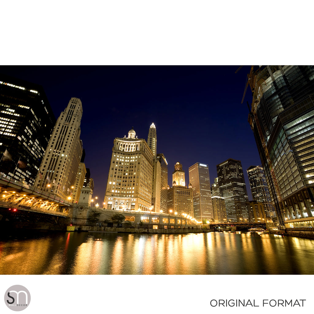 CHICAGO RIVER AT NIGHT - Wall Mural original format