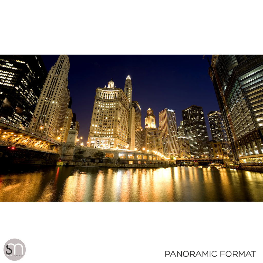 CHICAGO RIVER AT NIGHT - Wall Mural panoramic format