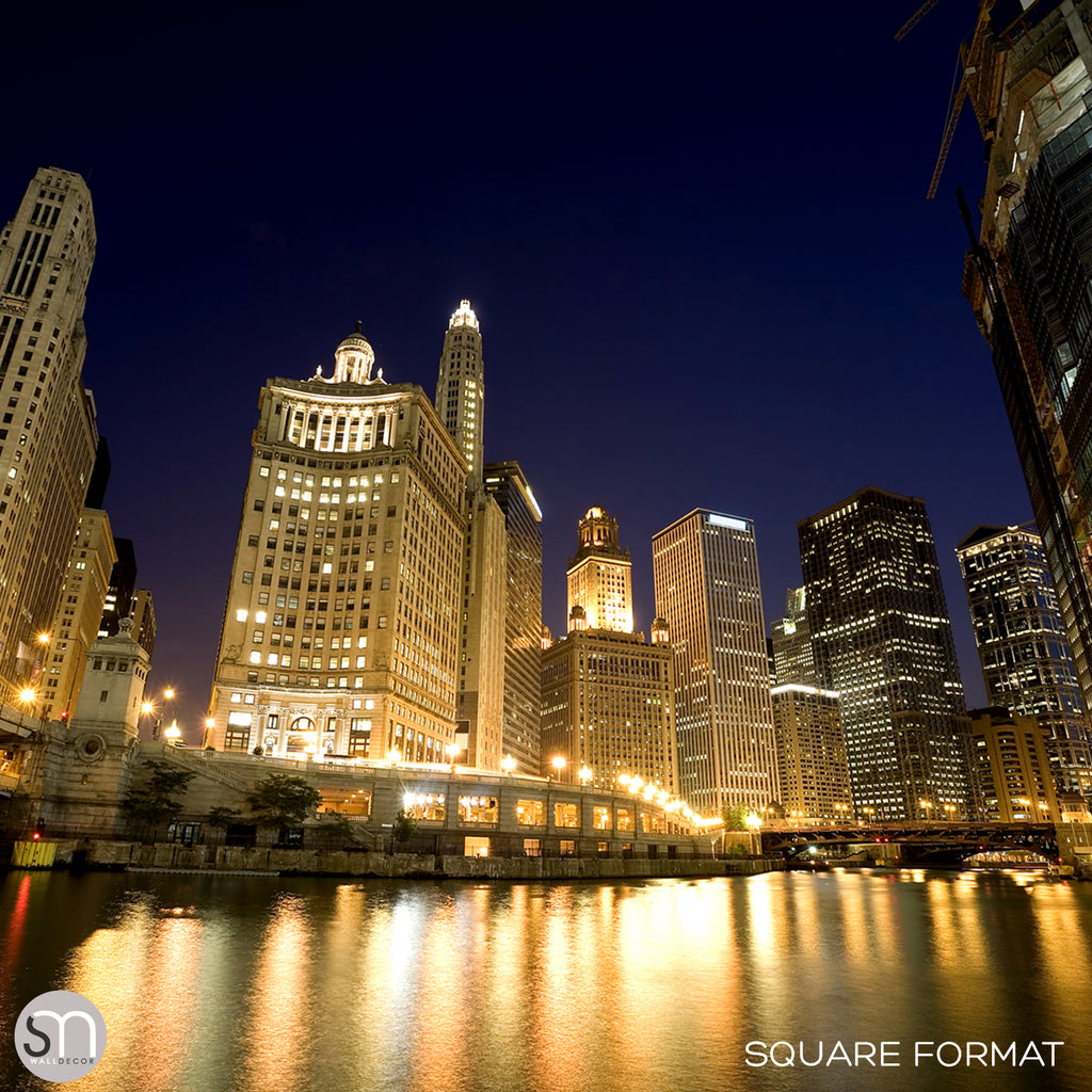 CHICAGO RIVER AT NIGHT - Wall Mural square format