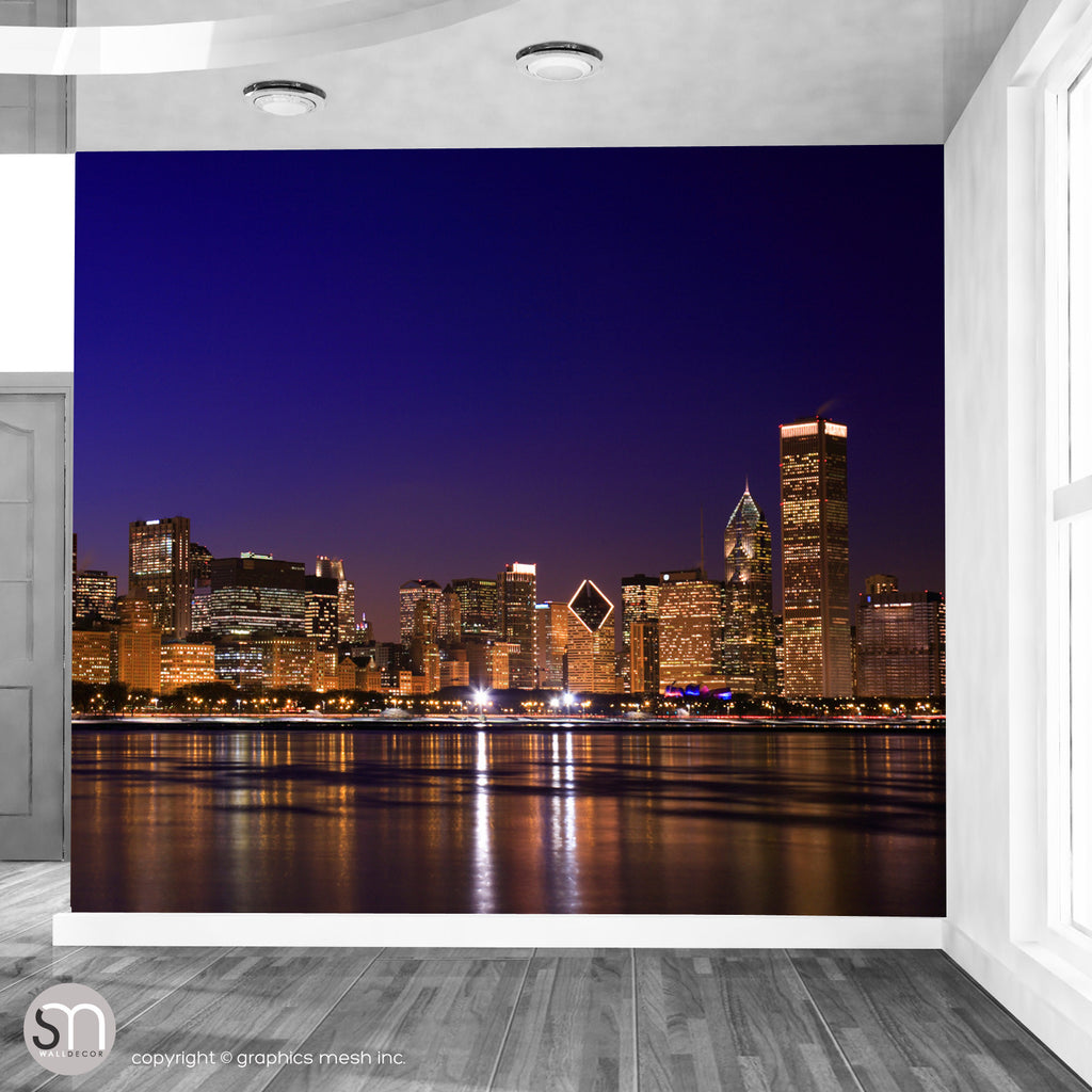 Chicago night skyline wall mural graphicsmesh for Chicago skyline wall mural