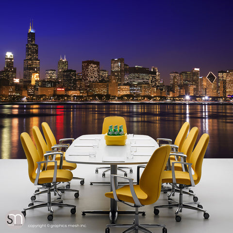 CHICAGO NIGHT SKYLINE - Wall Mural office