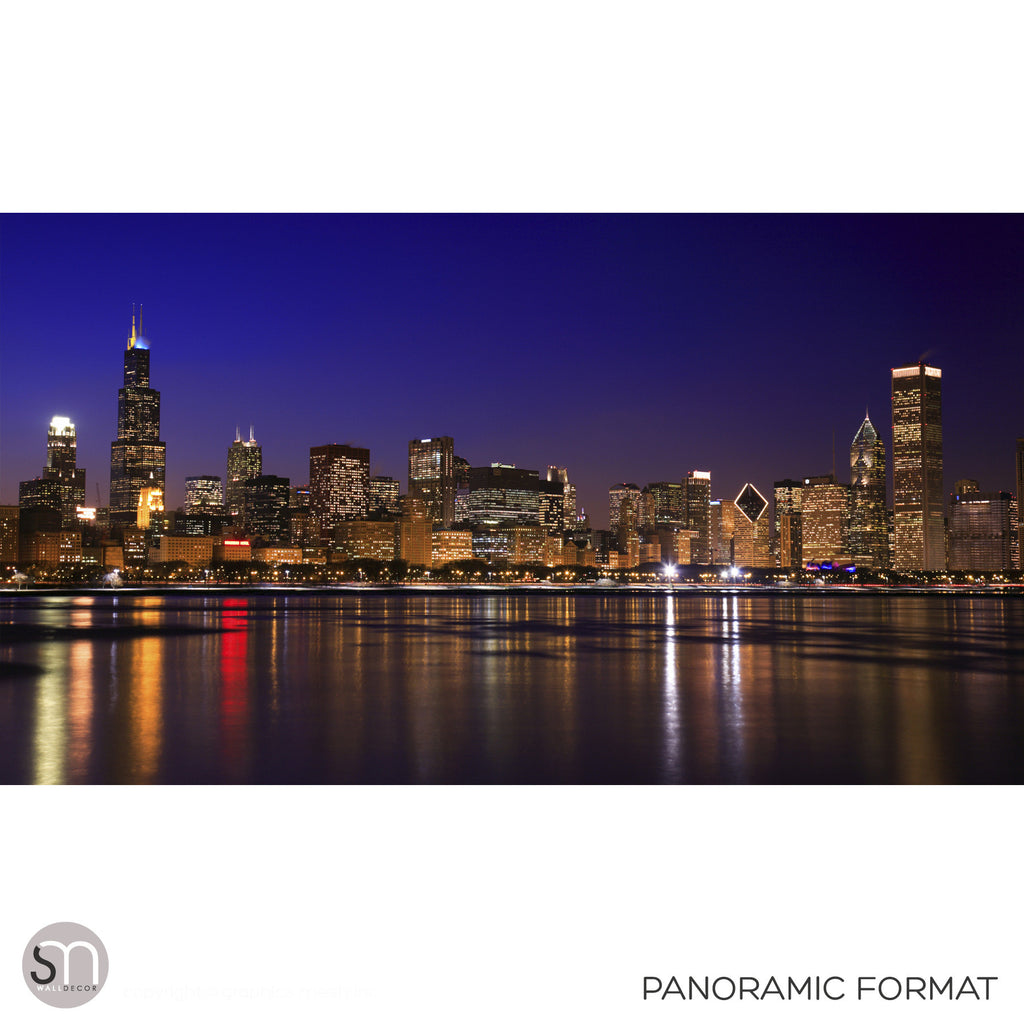 CHICAGO NIGHT SKYLINE - Wall Mural original