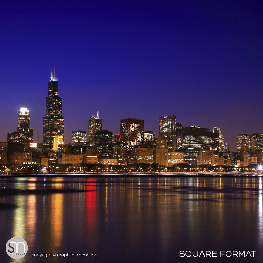 Chicago night skyline wall mural graphicsmesh for Chicago skyline mural wallpaper