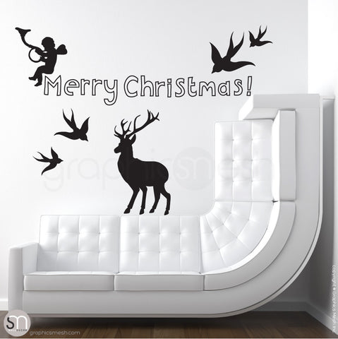 CHRISTMAS SET - Holiday Wall Decals black