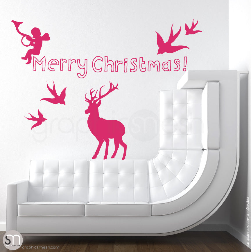 CHRISTMAS SET - Holiday Wall Decals pink