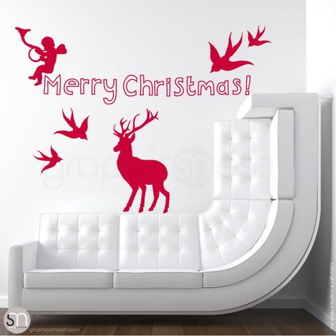 CHRISTMAS SET - Holiday Wall Decals red