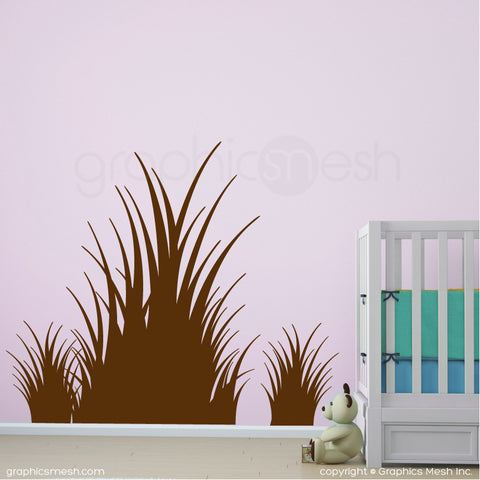 Clumps of grass wall decals in brown