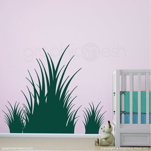 Clumps of grass wall decals in dark green