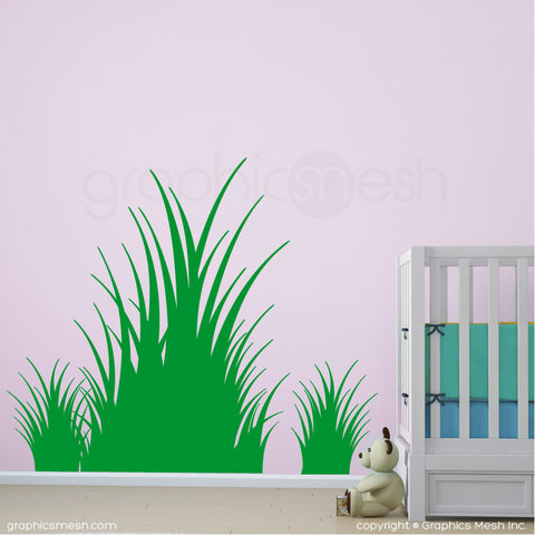Clumps of grass wall decals in grass green