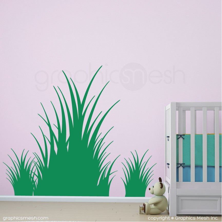 Clumps of grass wall decals in green