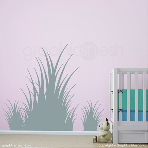 Clumps of grass wall decals in slate