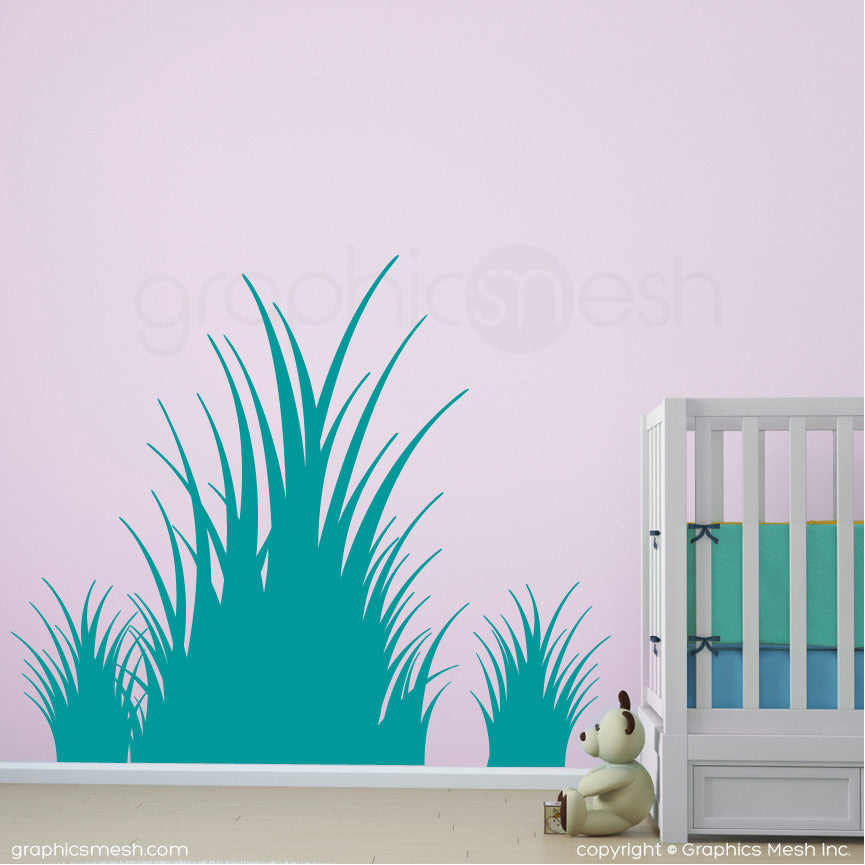 Clumps of grass wall decals in turquoise