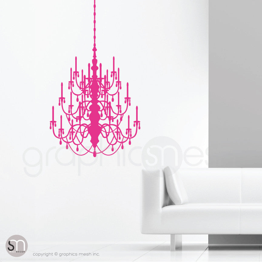 CRYSTAL CHANDELIER - Wall decal hot pink