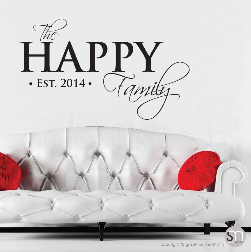 PERSONALIZED HAPPY FAMILY NAME U0026 ESTABLISHED DATE   Wall Decals   Wall  Decals ...