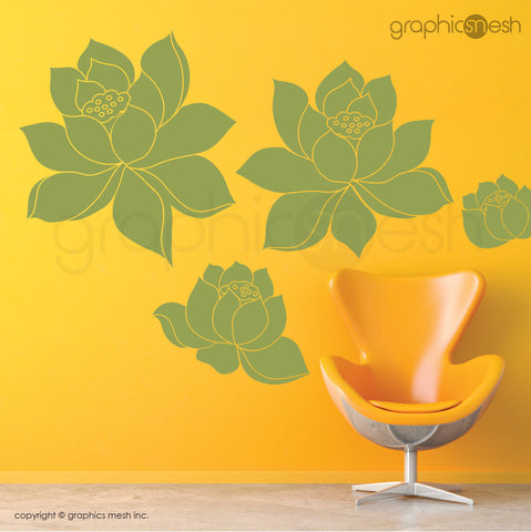 DAFFODIL FLOWERS SET - Wall Decals sage vinyl