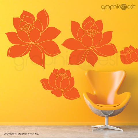 DAFFODIL FLOWERS SET - Wall Decals orange vinyl