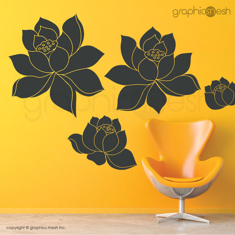 DAFFODIL FLOWERS SET - Wall Decals dark green vinyl