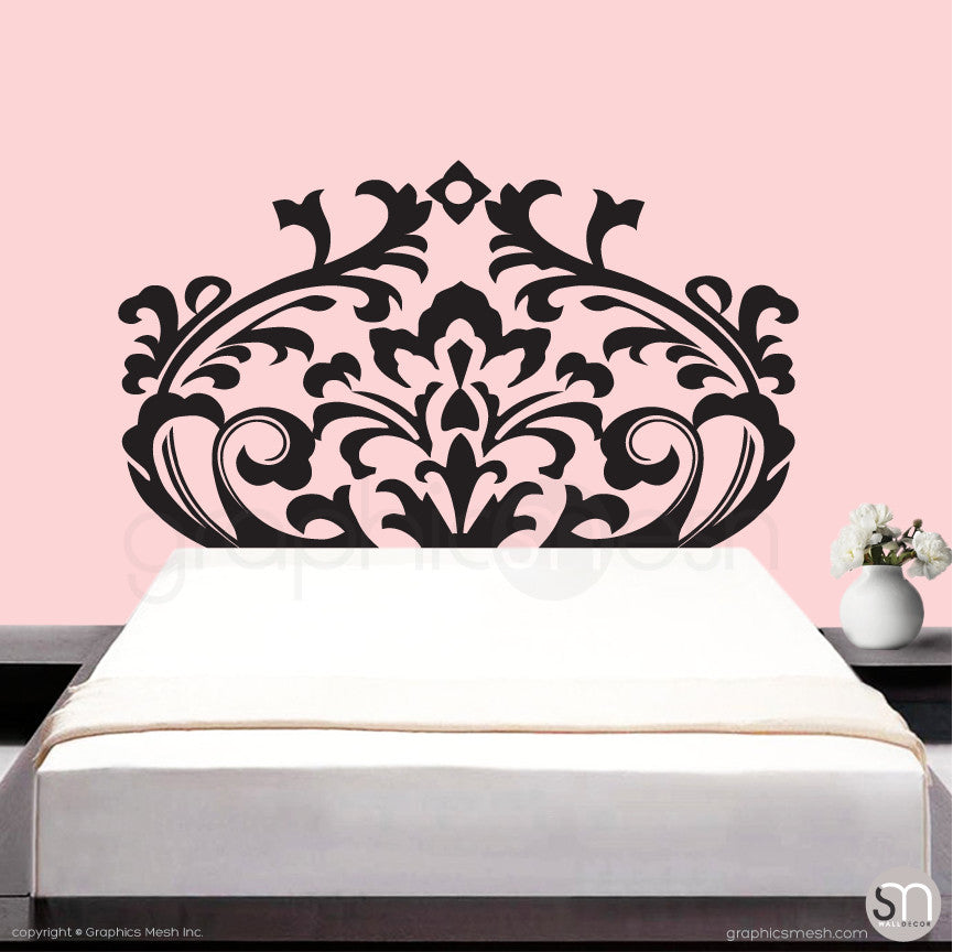 DAMASK HEADBOARD   Wall Decal Black ...