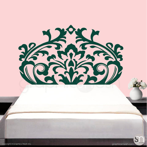 DAMASK HEADBOARD - Wall Decal dark green