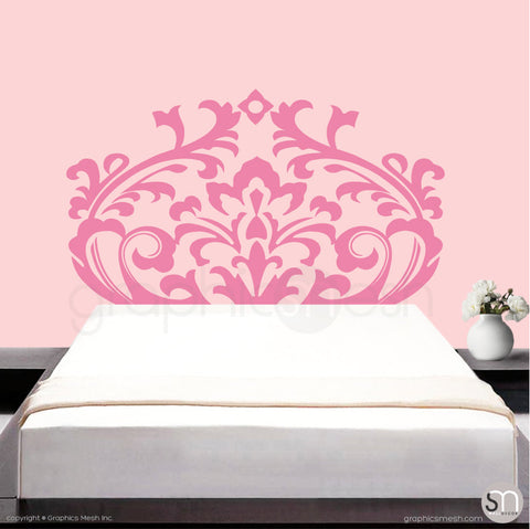 DAMASK HEADBOARD - Wall Decal pink