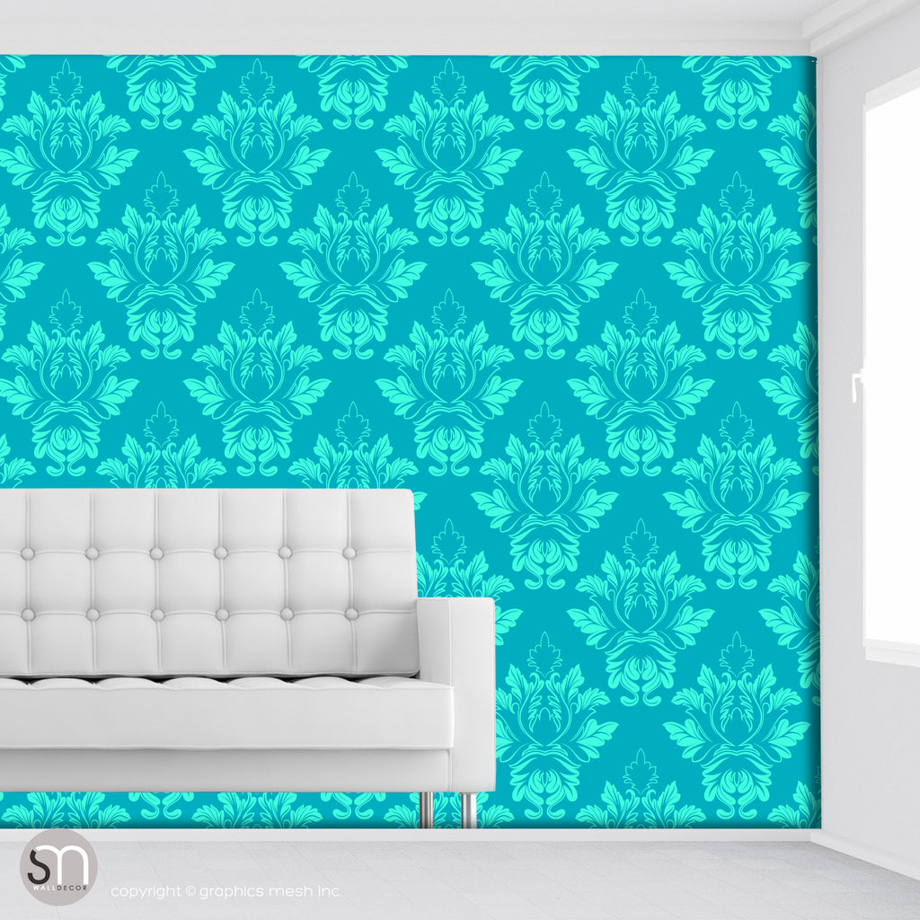 DAMASK AQUA PATTERN - Peel & Stick Wallpaper