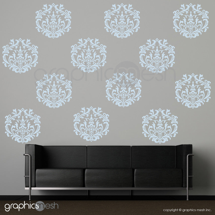 CLASSIC DAMASK MEDIUM SHAPES - Wall Decals - Sets of 6 or 12 powder blue