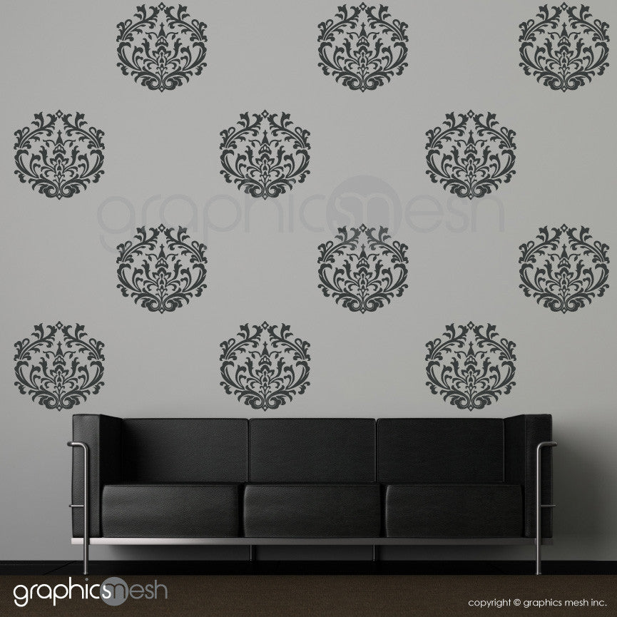 CLASSIC DAMASK MEDIUM SHAPES - Wall Decals - Sets of 6 or 12 dark grey